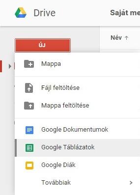 Google táblázatok